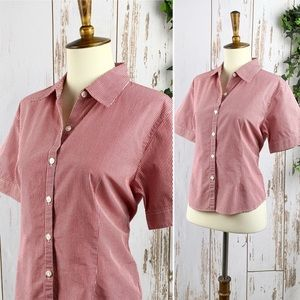 Talbots Red Gingham Short Sleeve Button Down EUC M